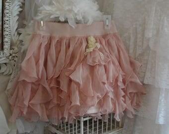 Romantic shabby pink skirt, ruffled, flouncy, flirty, babydoll, mori girl, Paris french chic