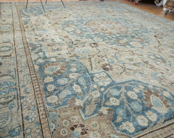 11x13.5 Vintage Distressed Tabriz Khoy Carpet