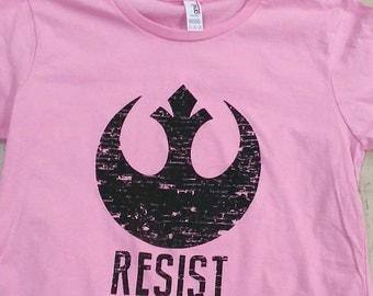 Star Wars - RESIST - Rebel Alliance -  Pink T-shirt - Women sizes