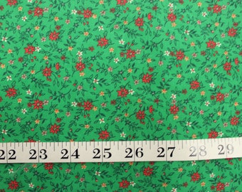 1960's Red and Green Spring Floral Fabric . Christmas Holiday Festive . Stiff Cotton Quilting . Material Destash sale