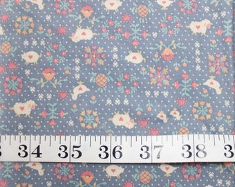 Country Sheep on Periwinkle Vintage Fabric . 1960's 60s fabric on purple . half yard destash quilting . fabric scrap material . barn kitchen