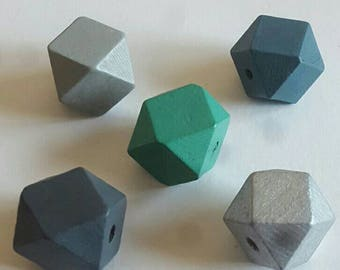 Wooden Geometric Polyhedron Faceted Bead x5 - Blue, Green, Grey, Silver Mix - Medium 20mm