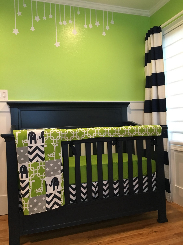 Navy And Green Crib Bedding Navy Elephant Green Giraffe And
