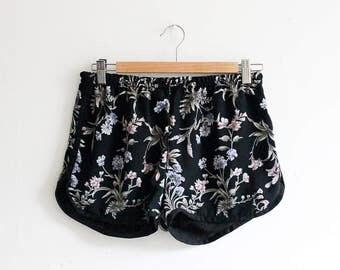 vic & lily Salvaged Black Flower Print Runner Shorts