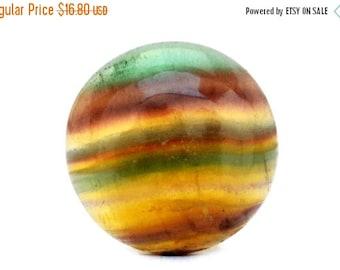30% OFF Rainbow Fluorite Gemstone Cabochon (29mm x 29mm x 7mm) - Round Cabochon Stone
