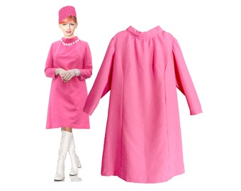 Dress, 1960s,shift dress, pink,  A-line, women, large, princess cut, pretty details, lined