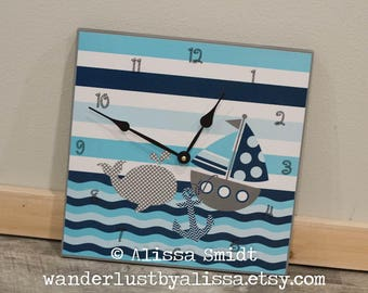 Nautical Theme Clock - whale, sailboat, anchor, 12 inch x 12 inch clock (navy blue, aqua, turquoise)