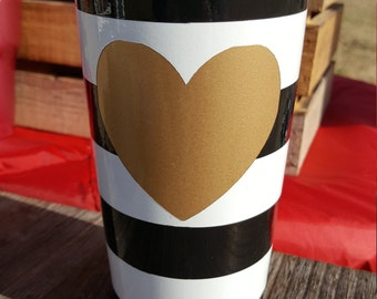 Love and Heart, Tumbler, Gifts for Her, 20 oz., Painted, No vinyl, Gold, Black and White Stripe