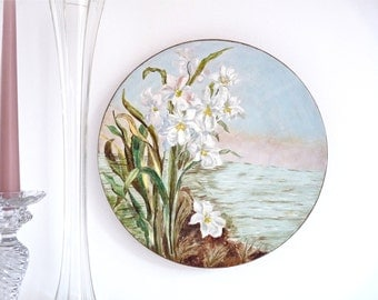 Signed by the Artist Big French vintage PLATTER Majolica - Iris of the Marshes - Wall Decor- Romantic Decor - Shabby Chic