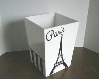 Paris Trashcan - Eiffel Tower wastebasket - Paris Wastebasket - Paris Garbage Can - Eiffel Tower - Black and White Wastebasket - Garbage Can