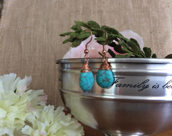 Copper wire wrapped turquoise stone earrings