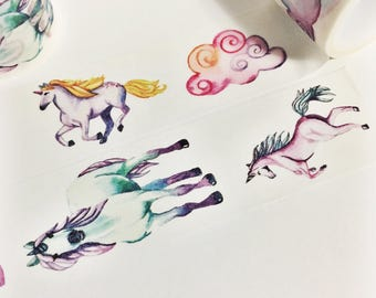 Gorgeous Watercolor Painted Rainbow Unicorns Washi Tape 5.5 yards 5 meters 30mm