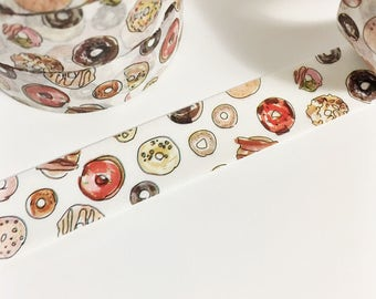 SALE Hand Drawn and Painted Variety of Donuts Dessert Colorful Tiny Donuts Washi Tape 11 yards 10 meters 15mm