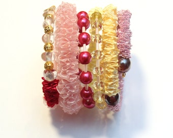 Chunky different shades of PINK and YELLOW Ribbon memory wire Bracelet