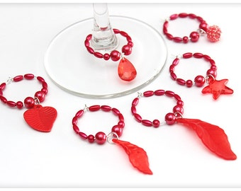 Wine glass charms, REDset, 6 charms. Wine glass rings for party