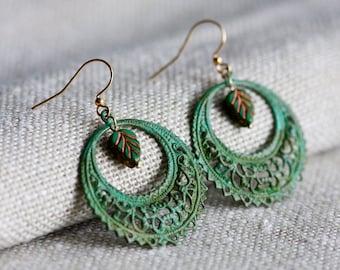 Bohemian Hoop Earrings Green Leaf Patina Drop Earrings Verdigris Filigree Dangle Earrings Boho Chic Turquoise Earrings Spring Jewelry - E340