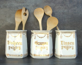Antique Kitchen Canisters, Vintage German, Shabby Chic White Cottage, Gold Graupen Linsen Bohnen, Barley Beans Lentils