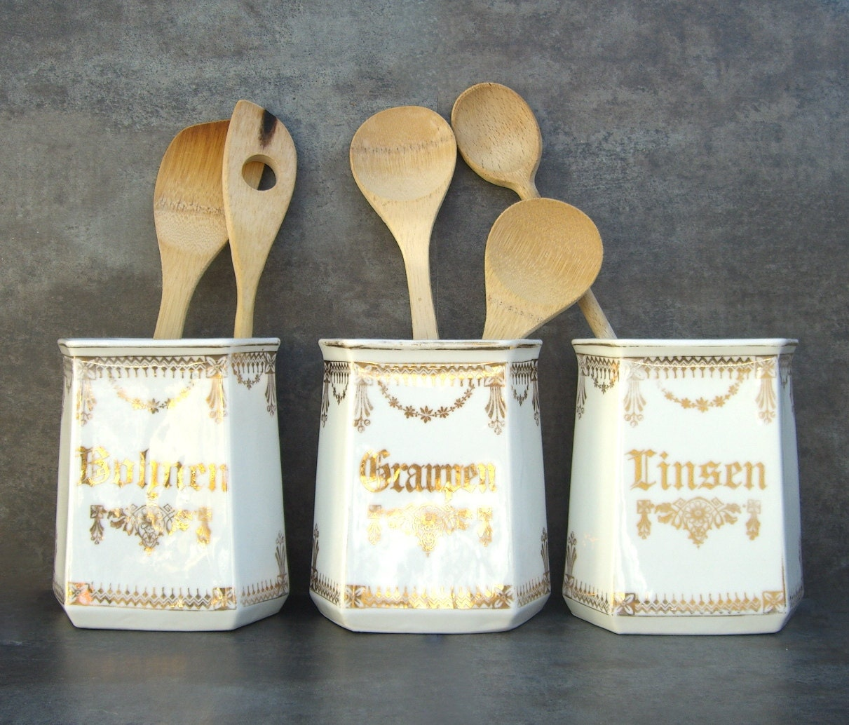 antique kitchen canisters vintage german shabby chic white