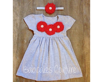 Gray and Red Dress, Heather Gray Dress, Gray Dress with Red Chiffon Flowers and Pearls, Baby Girl Valentine Dress, Baby Girl Play Dress