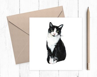 Black and White Cat Blank Greeting Card, cat card, black and white cat, blank card, any occasion, ideal for cat lovers