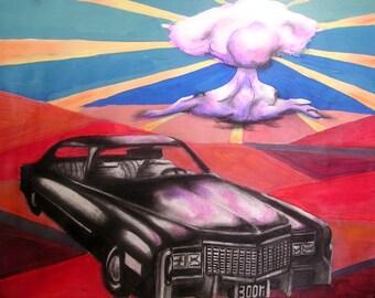 Losing A Whole Year ORIGINAL ARTWORK | Cadillac Atomic Bomb Painting