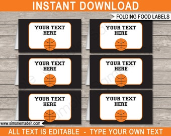Basketball Food Labels - Buffet Tags - Tent Cards - Basketball Theme Party - Party Decorations - INSTANT DOWNLOAD with EDITABLE text