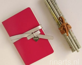Leather notebook / leather journal / leather travel notebook / leather sketch book in hot pink leather. Gift under 15.