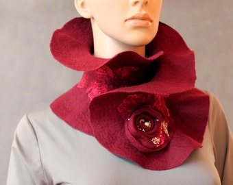 Burgundy Handmade Felted Scarf collar neck warmer vinous with Flower Brooch Ready to ship