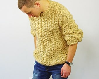 Chunky Hand Knitted Brown Mens Sweater