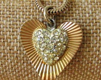 vintage 60s coro rhinestone heart charm bracelet