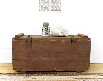 vintage industrial shipping crate, wood crate, wood tool box, antique tool chest, wood trunk, wood storage box, circa 1940