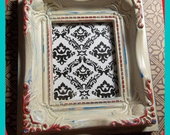 Small FRAME Shabby Chic, Weathered, Aged, Chalk Painted, 2 x 2-1/2 Inch Magnetic