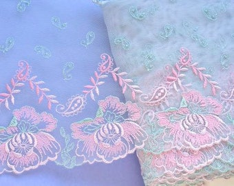 Pink Aqua Lace Trim, Pink Floral Lace, Pink and Mint Green Lace Trim, Paisley Lace Fabric, Dolls, Lingerie, Couture Sewing, Lace Decor