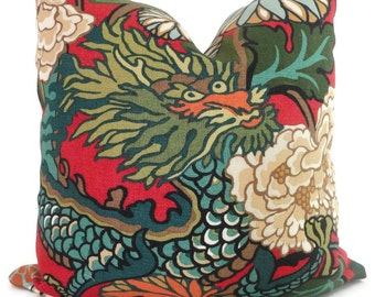 Lacquer Schumacher Chiang Mai Dragon Decorative Pillow Covers, Toss Pillow, Accent Pillow, Throw Pillow, Pillow sham