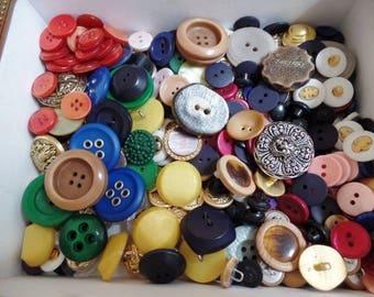 Buttons Lot  Vintage Antique in Montecristo Casino II Cigar Box Wood Storage Bulk DIY Supplies