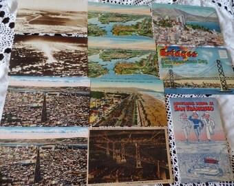 SAN FRANCISCO Paper Ephemera Postcards Souvenir Folders Military Guide Lot Vintage Travel Bridges Cityscapes California 11 Pieces
