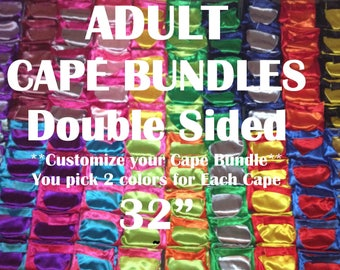 ADULT HERO CAPES Bulk Party Pak  Bundles for Ages 12 - Size Adults; You Choose colors! Boy Girls Super Hero Capes for Birthday Party Gifts