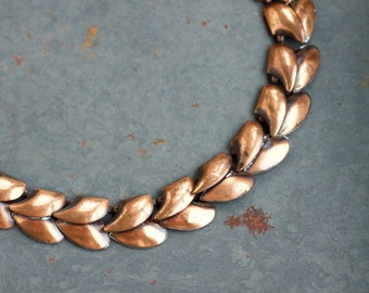 Copper Leaves Choker Necklace - Half Collar Chain - Modern Cleopatra