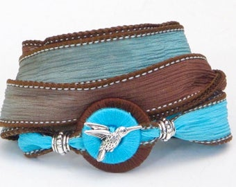 Turquoise Hummingbird, Silk Wrap Bracelet, Whirly Wrap, Pewter Hummingbird Button, Turquoise Brown silk hues, secure magnet, easy off and on
