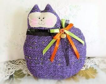 Halloween Cat Pillow, Cat Doll, 7 in. Purple & Black, Autumn, Fall, Primitive Soft Sculpture Handmade CharlotteStyle Decorative Folk Art