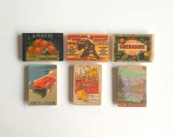 Objectify Vintage Print Refrigerator Magnets - Set of 6