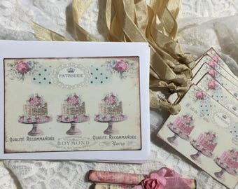 French Patisserie, Pastries, Cakes, Stationery Set, Notecards, Gift Tags, Gift Item
