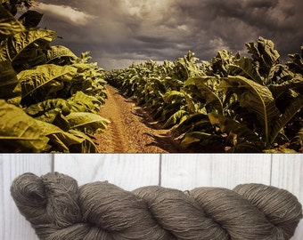 Mulberry silk 100% (2ply ,) handdyed yarn, hand painted yarn, Tobacco fields.