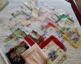 Vintage Large lot 37 Hankies Handkerchiefs Farmhouse wedding crafts quilts