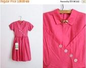 ON SALE // 50s Pink Golden Bow Dress / 1950s Girls Dress / Womens XS / Children Dress / Size 12