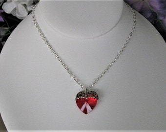 Valentine Red Crystal Heart Necklace, Mothers Heart Necklace, Sterling Silver Necklace, Valentine's Necklace, Valentine's Day Gift