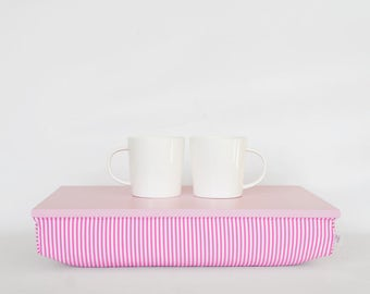 Girls room Serving tray, laptop riser- pastel pink with pink and white stripped elastic fabric pillow