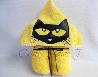 """Pete The Cat inspired Sneaker Cat Hooded Bath Towel! Perfect gift. READY TO SHIP. Can be personalized. 10"""" hood for child or adult."""