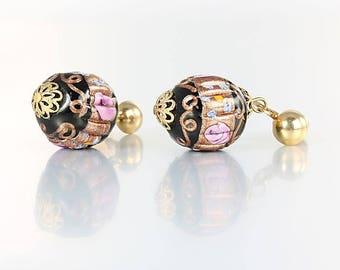 Venetian glass Earrings, Wedding Cake Bead Earrings, Pink Cabbage Roses Italian jewelry, Black and Bronze