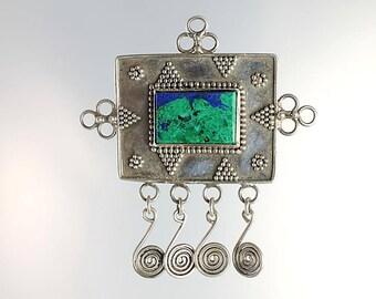 Azurite Brooch, Eilat stone Sterling Brooch Tribal Malachite Israel jewelry